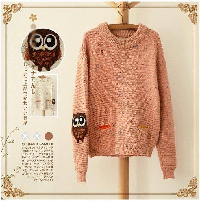 #現貨 ☆紫米粒小舖☆【R15889】毛衣 日系森女系貓頭鷹貼布毛衣。