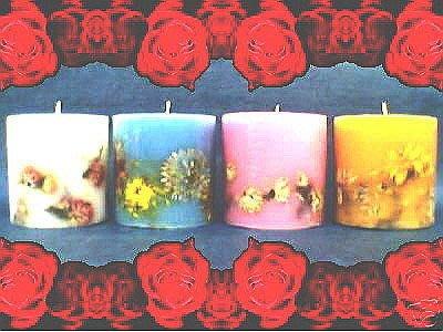 [ 花朵香 風/水/火/土 宇宙四元素 香氛精油蠟燭 ]-4個1組-精純手工真花花燭 不適合燃點.