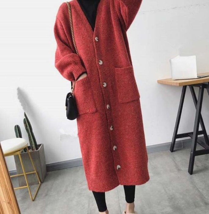 莎芭 針織外套 秋冬羊絨外套 韓國長款羊毛衫 加厚針織開衫 慵懶毛衣外套