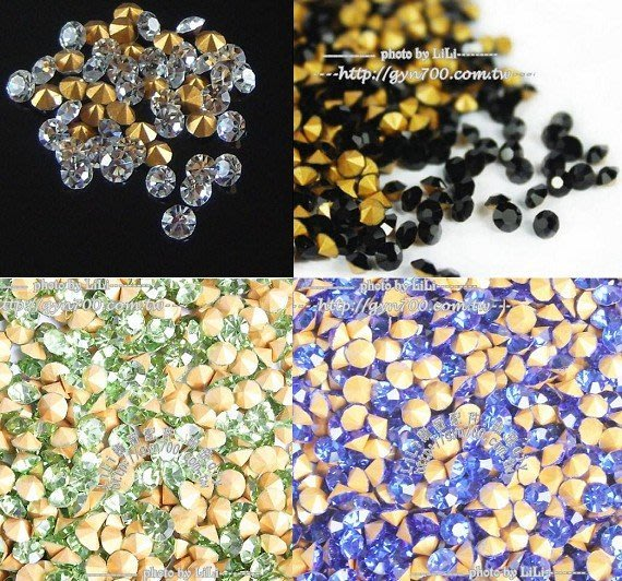 LiLi飾品配件批發   3.0mm水晶尖底鑽 玻璃鑽 20個15元  串珠配件  diy串珠  尖底鑽 美甲 飾品補鑽