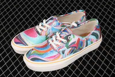 『E-COOL』范斯Vans Authentic SF 彩色印花彩色底環保休閑情侶男女帆布滑板鞋