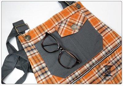 ✿小布物曲✿ 手作格子跳色吊帶短褲 100%純棉 吊帶可放下當短褲 潮流 俏皮  工作褲 油漆工 可愛