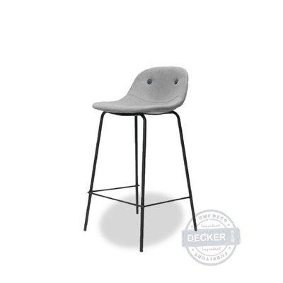 【Decker • 德克爾家飾】Nordic 丹麥溫暖設計 簡約北歐風家具 磨砂鐵件 麻布軟墊 艾克吧台椅 - 雙色