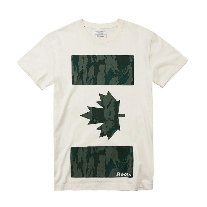 【Roots】男款短袖T恤黑印方迷彩楓葉米白 F11170814-03