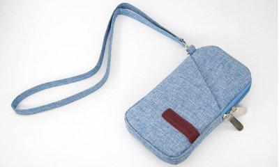 【GooMea】3免運 Samsung 三星GaIaxy J4+ 6吋 手機套 亞麻布 拉鍊款 手拿 斜背 淺藍