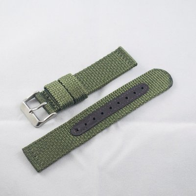 日本進口尼龍錶帶,軍綠色,不鏽鋼錶釦,...
