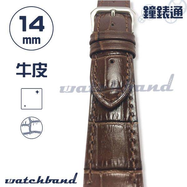 【鐘錶通】C1-20AR《簡約系列》大花鱷魚紋-14mm 經典棕  /手錶錶帶/大花鱷魚紋/牛皮錶帶/