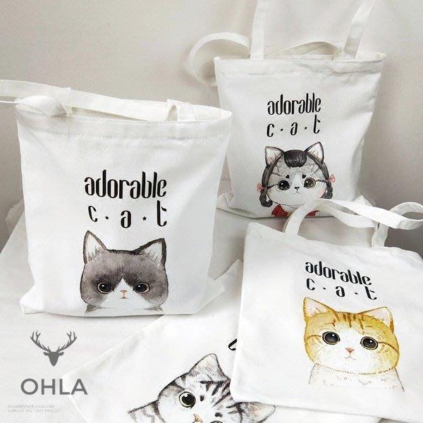 ☆歐拉雜貨屋☆學院風超萌貓咪印花帆布手提袋購物袋女包包禮物