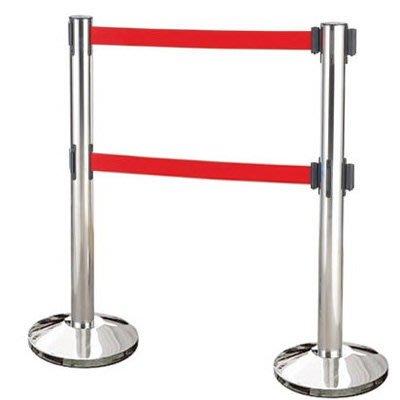 【企隆 圍欄 飯店用品】雙帶不銹鋼伸縮欄柱(錐盤)/E85A-2R 開店/欄柱/紅龍柱/排隊/動線規劃
