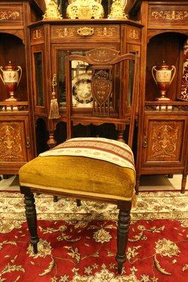 【家與收藏】限時特價稀有珍藏歐洲百年古董英國珍貴手工精緻Inlaid鑲嵌綠絨花梨木單椅