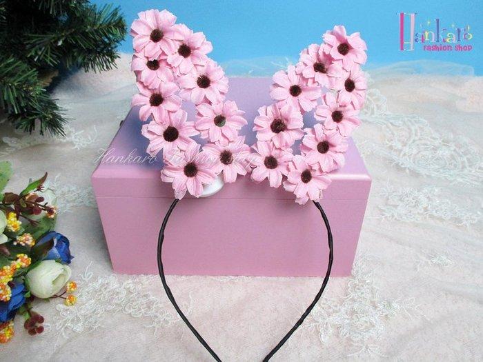 ☆[Hankaro]☆ 歐美新款派對LED發光花朵兔耳髮箍