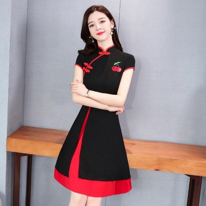 改良式洋裝 輕熟風雪紡連身裙夏新款顯瘦洋氣改良版旗袍式裙子 『清風小鎮~全場免運』