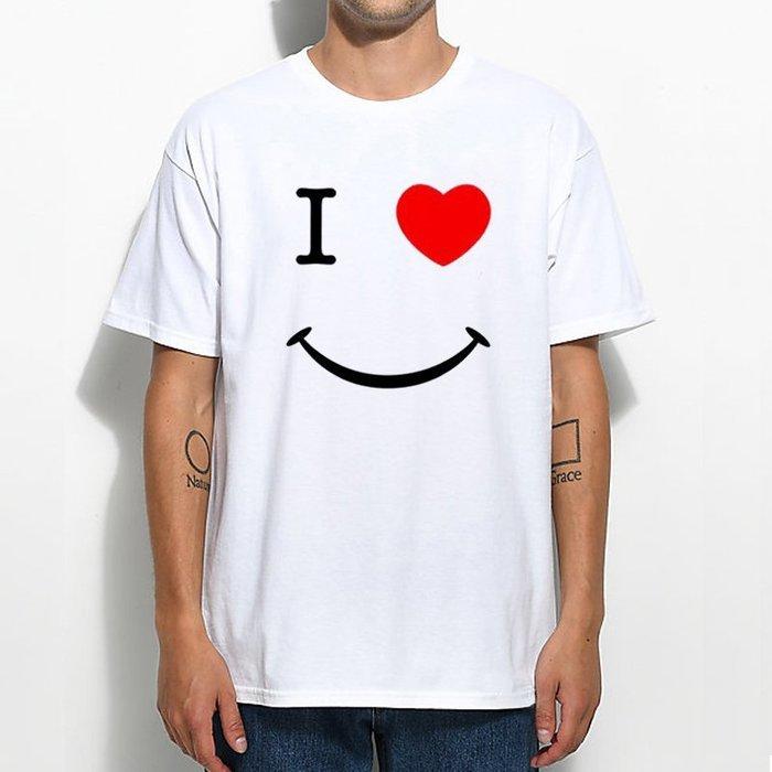 I Heart Smiley 短袖T恤 白色 歐美潮牌微笑臉復古設計插畫男女情侶印花潮T