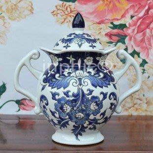 INPHIC-青花浮雕陶瓷糖罐 小罐子 歐式復古瓷罐 家裝飾品擺飾