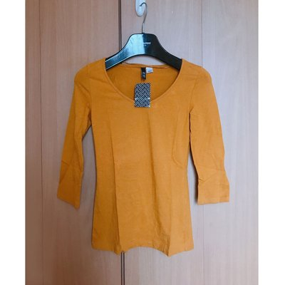 H M beautiful v neck silm fit blouse top mango club monaco zara 外國簡約靚暖黃色v領中袖修身襯衫