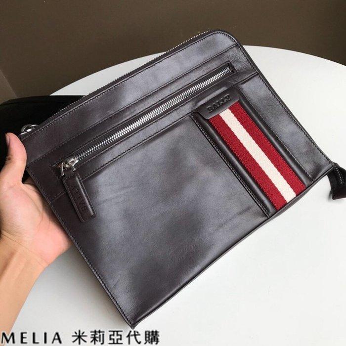 Melia 米莉亞代購 美國代買 BALLY 貝利 男士款 扁手拿包 文件包 油蠟皮質越用越亮 咖啡色