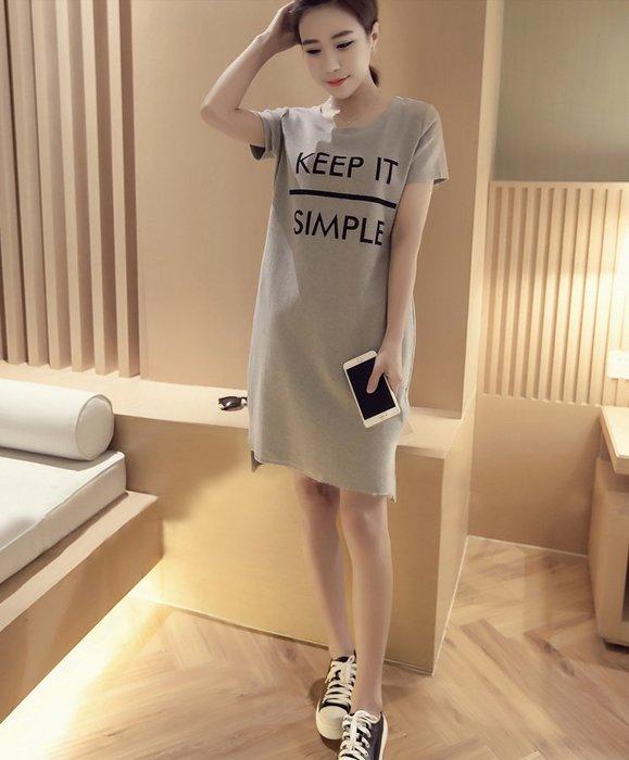 【實拍】韓-中長款純棉開叉圓領短袖T恤/裙/洋裝【S~XXL黑、白、灰三色】