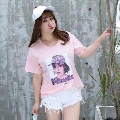 ✿plump girl 韓系✿中大尺碼女裝孕婦裝短袖T卹亮片釘珠印花上衣2907