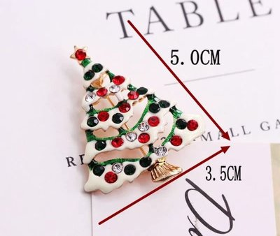 (清貨$15 一個)(原價$25)新款 情侶 送禮 甜美系 閃鑽 聖誕樹 胸針 別針(滿$60包郵)(郵費$5)