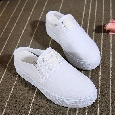 新款帆布夏季平跟帆布包頭女厚底半拖鞋懶人松糕涼鞋 AD532