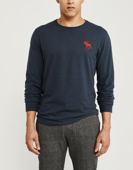 AF Abercrombie & Fitch 麋鹿 長袖 素T 藍色