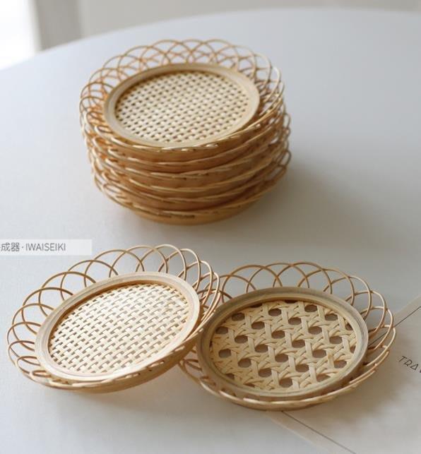 紫滕戀推出日韓ins簡約風天然原木手工竹編杯墊咖啡廳家用花邊杯托