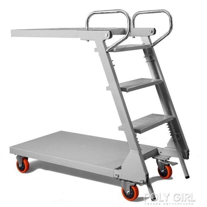 貨架梯 煜旗登高車登高梯登高凳行動車推車樓梯車行動行動平台梯登高貨架ATF