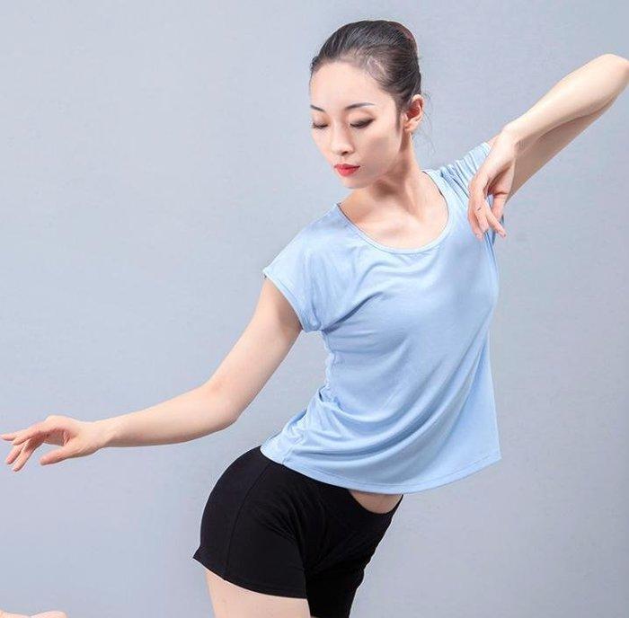 888利是鋪-現代舞服芭蕾舞蹈上衣T恤 純色短袖圓領排舞演出練功服芳華同款女#舞服