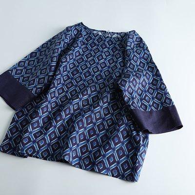 (老銀屋)春夏設計款純亞麻數碼印花七分袖上衣