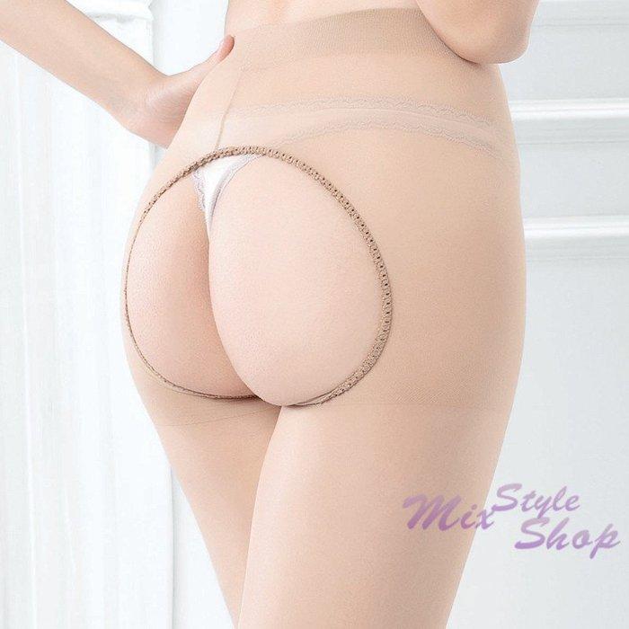 MIX style SHOP【S-110】愛愛免脫❤15D前後雕空免脫開襠彈性透明褲襪/純色絲襪~(2色)