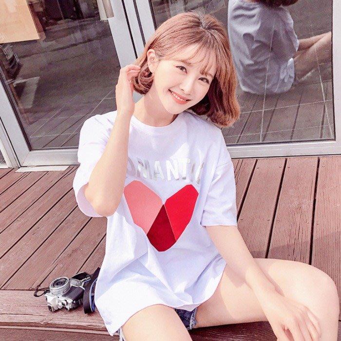 ❤Princess x Shop❤時尚3D立體圖案字母燙畫寬鬆顯瘦短袖T恤DL19042525正韓國連線吊帶褲蕾絲一字領