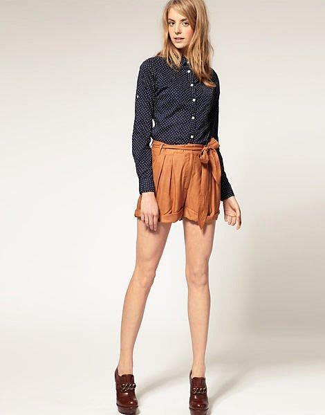 現貨UK12 ASOS 舒適蝴蝶結綁帶休息短褲 大地色系 原價約一千五