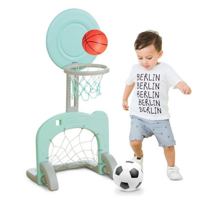 5Cgo【樂趣購】560134222609 兒童籃球架足球門二合一幼兒園室內戶外玩具可升降送球院子室內運動用品戶外親子玩