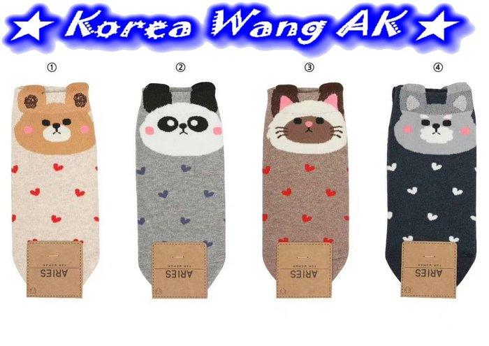 Korea Wang AK~(現貨)韓國代購 東大門 卡哇伊Q版小熊熊愛心滿版襪襪  單雙50元【SS03】