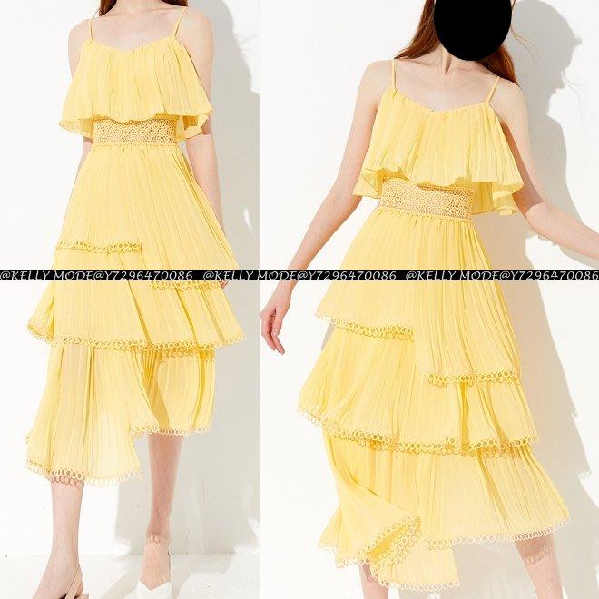 ♥kellymode♥全新正韓19春夏新款 優雅氣質 檸檬黃 蕾絲收腰修身 荷葉吊帶 層層 連衣裙 洋裝