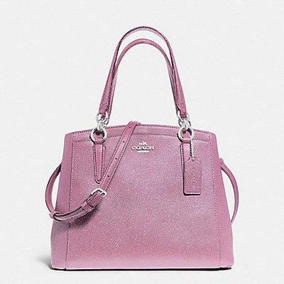 軒軒小店  COACH 13683 紫色 珠光真皮 三層包 兩用包 手提包 斜背包 馬鞍