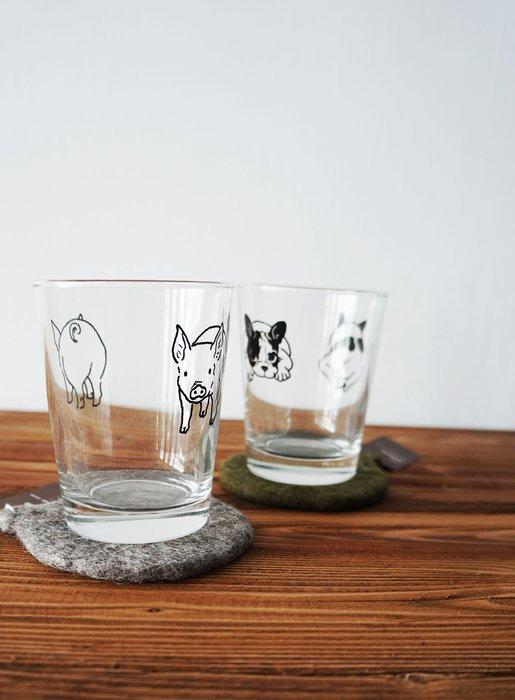 京都 souvenir 日本製 療癒係 法國 鬥牛犬 狗狗 小豬 慵懶 熊貓 貓熊 水杯 杯子 玻璃杯