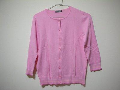 全新 bossini Ladies Samrt Casual 嫩粉色可開釦兩穿式七分袖細柔親膚女彈性針織衫 袖口衣襬配色