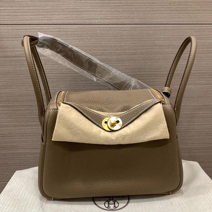 J-Shop Luxury 精品店 Hermes 26cm Lindy Etoupe大象灰 金釦 D刻