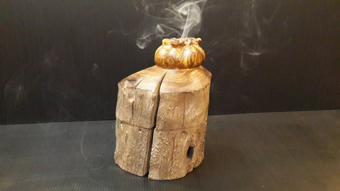 【 檜人檜語 】 黃連木 福袋造型 盤香爐