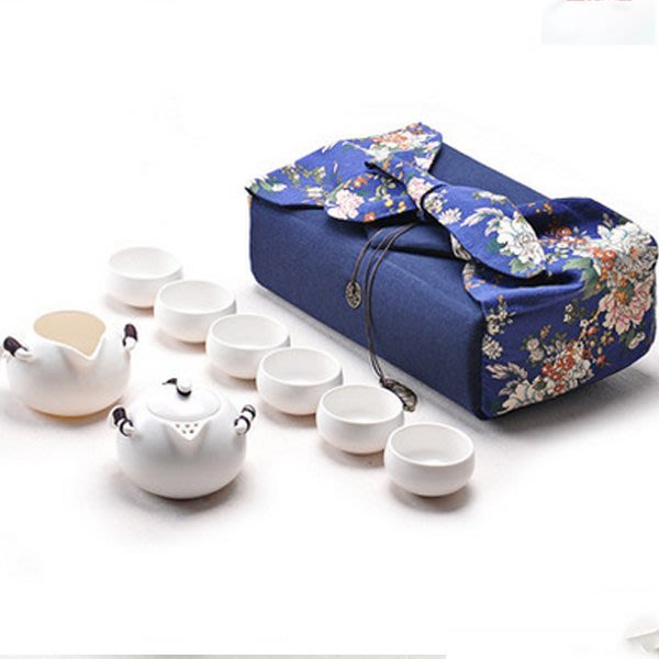 5Cgo【茗道】含稅會員有優惠  521268488671 戶外泡茶組收納袋架日式茶壺快客杯便攜布袋旅行茶具禮包 白瓷款