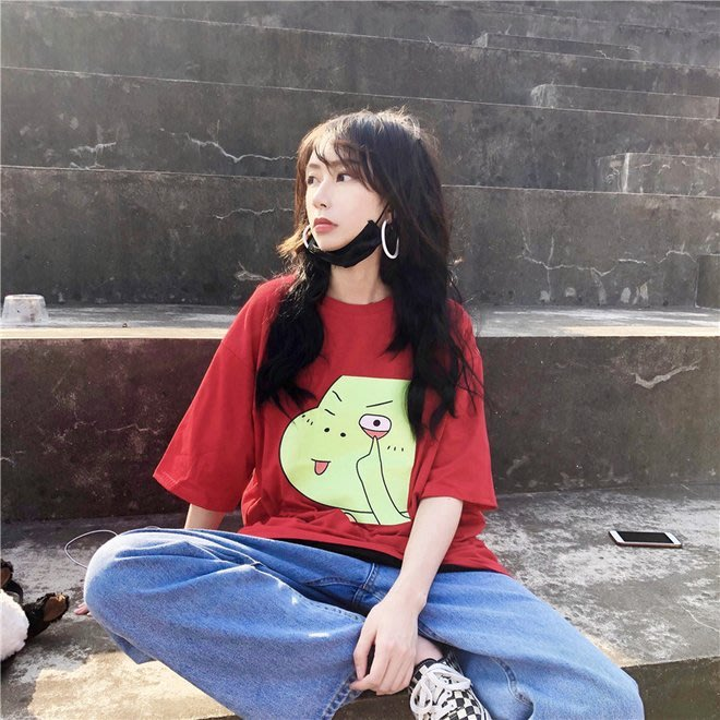 FINDSENSE G6 韓國時尚潮流 夏季可愛俏皮卡通印花中長款百搭圓領T恤短袖T恤女裝上衣