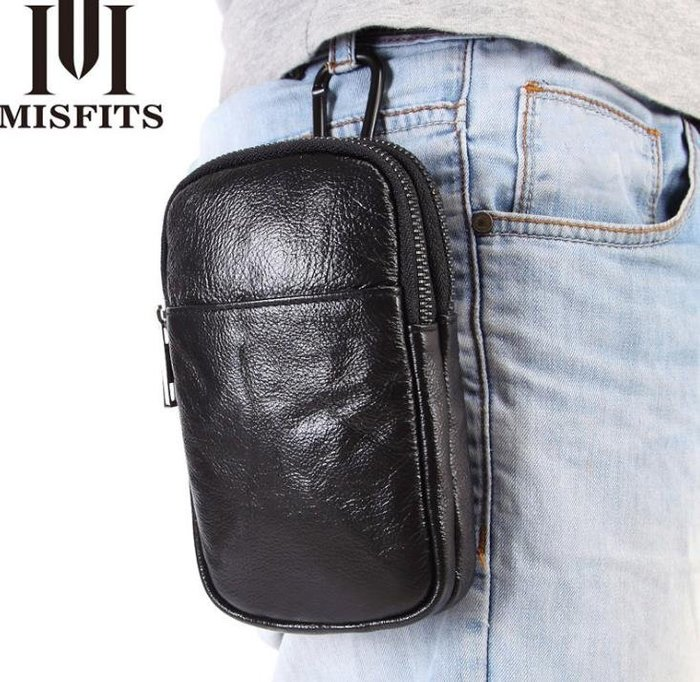 5C精選@2018新款 男士頭層牛皮 雙層主袋掛脖小包 休閑手機包