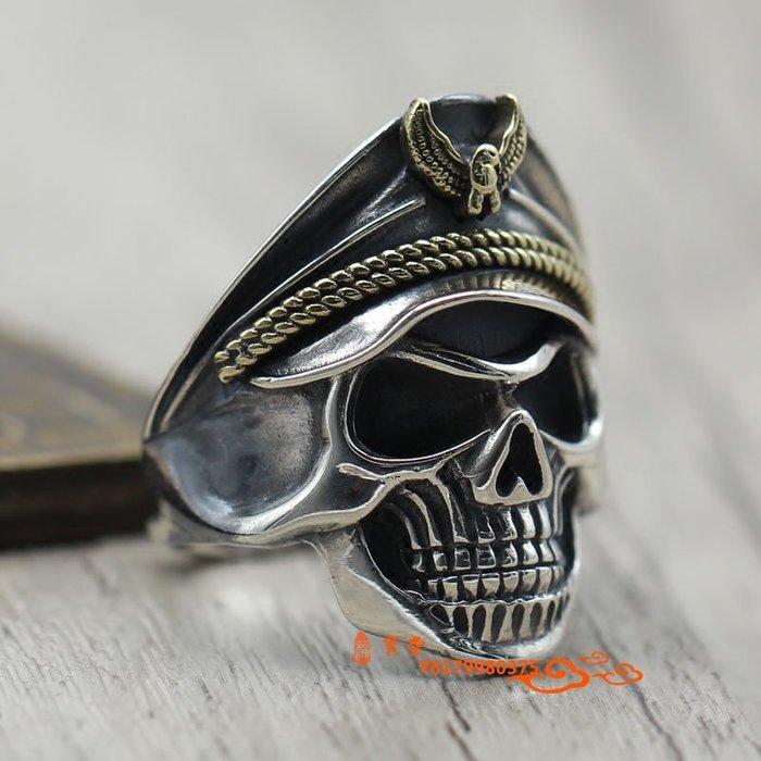 【福寶堂】s925純銀個性二戰骷髏軍官戒指潮男朋克風男士開口復古泰銀指環