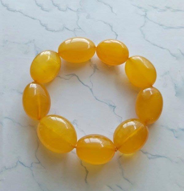 ☆采鑫天然寶石☆  *松香*頂級天然琥珀蜜臘(Amber) 手鍊~蜜黃珍珠、溫潤~珍藏~小手圍