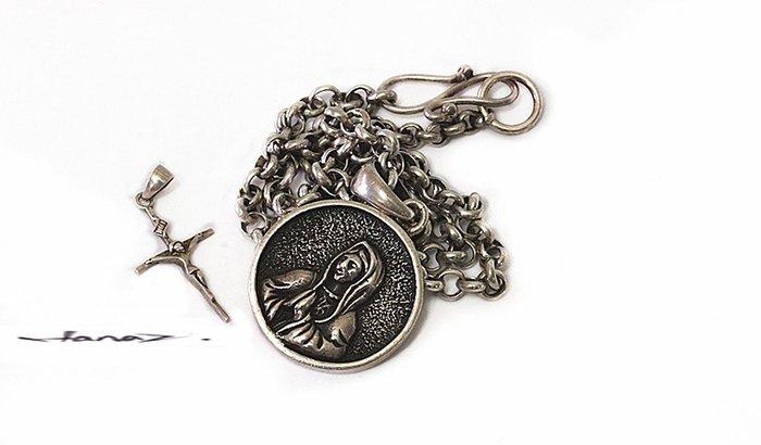 銀囍古董銀飾~ 老銀手鐲手鏈 西洋古董綴飾 銀光設計系列《中西古董圓墜老銀項鍊》