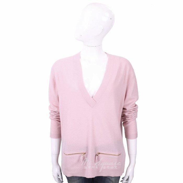 米蘭廣場 ALLUDE 喀什米爾粉色拉鍊口袋細節V領羊毛針織衫 1740227-05