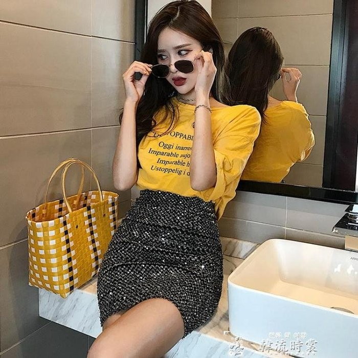 包臀裙半身裙女夏季新款韓版女裝彈力休閒包臀裙個性亮片高腰顯瘦短裙子 韓流時裳CENX15504