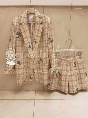 全新 轉賣 Littile Freckle 小雀斑-刺繡花朵格紋西裝褲(米白)
