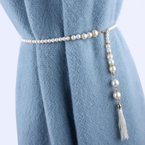 腰鍊女裝飾百搭韓版簡約流蘇珍珠腰帶配連身裙子皮草細款鍊條鑲鑽
